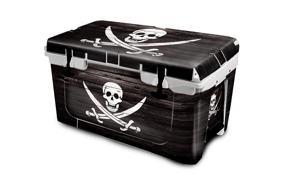 USATuff Cooler Wrap Decal 'Fits New Mold' RTIC 45QT FULL Pirate Flag Wood