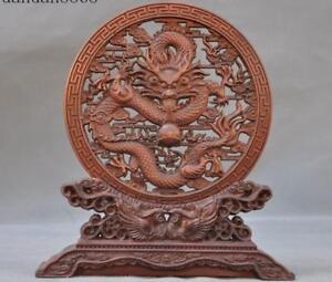Old-Chinese-Boxwood-wood-Hand-carved-Auspicious-Dragon-bird-Screen-Byobu-Statue