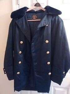 Vintage police duty car coat with faux fur hood | eBay