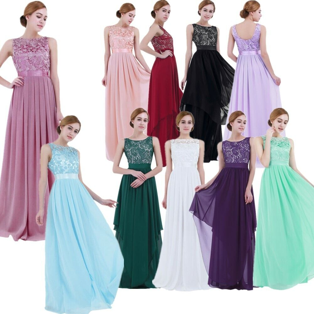 Damen Kleid Ärmellos Elegent Chiffonkleid Abendkleid Hochzeit Brautjungferkleid