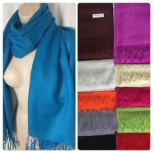 New-100-Pashmina-Wrap-Fringe-Scarf-Solid-Color-Shawl-Scarves-NIP-72-034-x-28-034