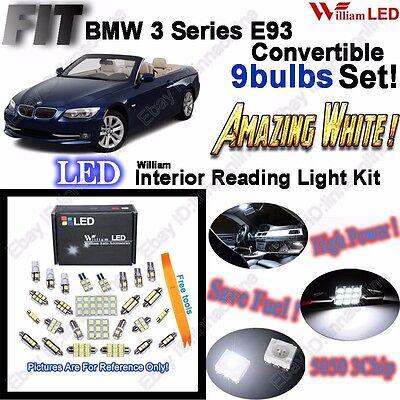 9 Bulbs Xenon White LED SMD Interior Light Kit For BMW 3 Series E93 Error Free