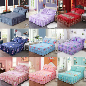 Floral-Bed-Skirt-Pillowcase-Bed-Spread-Double-Dust-Ruffle-Elegant-Bed-Sheet