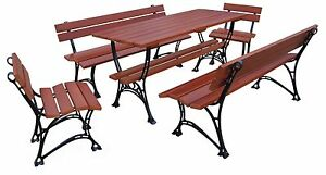 Gartenmobel 2 X Bank 2 X Sessel Tisch Sitzgarnitur Holz