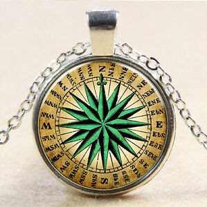 Image Is Loading Vintage Compass Cabochon Tibetan Silver Glass Chain Pendant