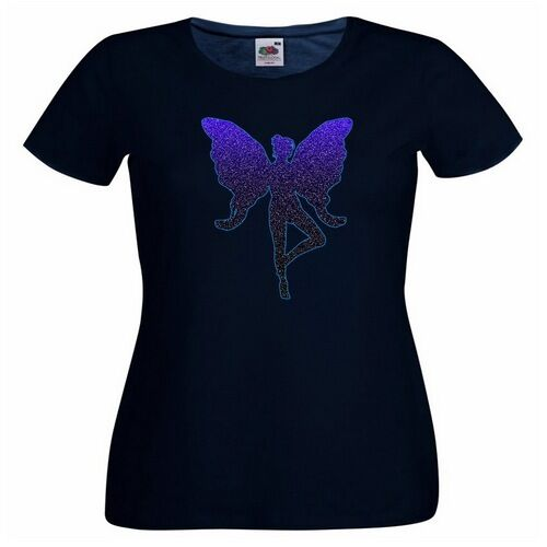 Glitter Fairy Purple Ladies PRINTED T-SHIRT Art Creature Magic Magical