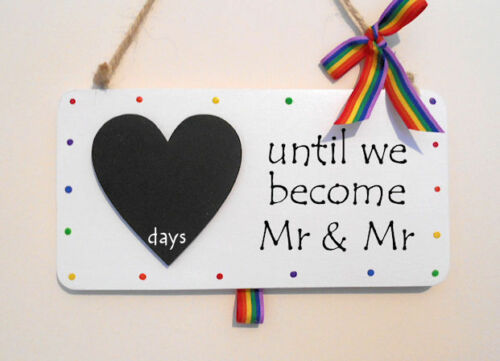 LGBT wedding countdown chalkboard sign plaque engagement present gay pride