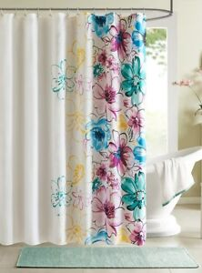 Image Is Loading WATERCOLORS SHOWER CURTAIN BLUE PURPLE GREEN YELLOW FLORAL
