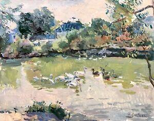 painting-Sleta-village-landscape-vintage-socrealizm-ducks-in-the-pond-old-art