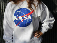 New Womens Nasa Hoodies Print Long Sleeve Ladies Top Grey Sweatshirt Size 8-14