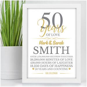 Dettagli Su 50th Anniversario Di Matrimonio Regali 50 Anni Personalizzata D Oro Anniversario Di Matrimonio Mostra Il Titolo Originale