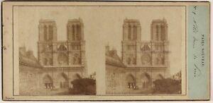 Notre-Dame De Paris Francia Foto Stereo Po' di Tempo Vintage Albumina c1857