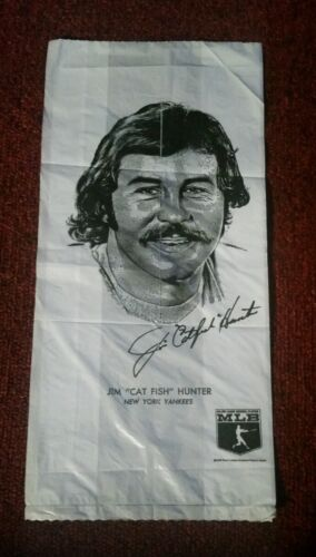 VINTAGE MLB PLASTIC BAG W CATFISH HUNTER & FRED LYNN NMMT RARE FREE SHIP