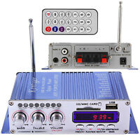 Car Motorcycle Hi-Fi Stereo Audio Power Amplifier Music Player USB MP3 2CH SD FM