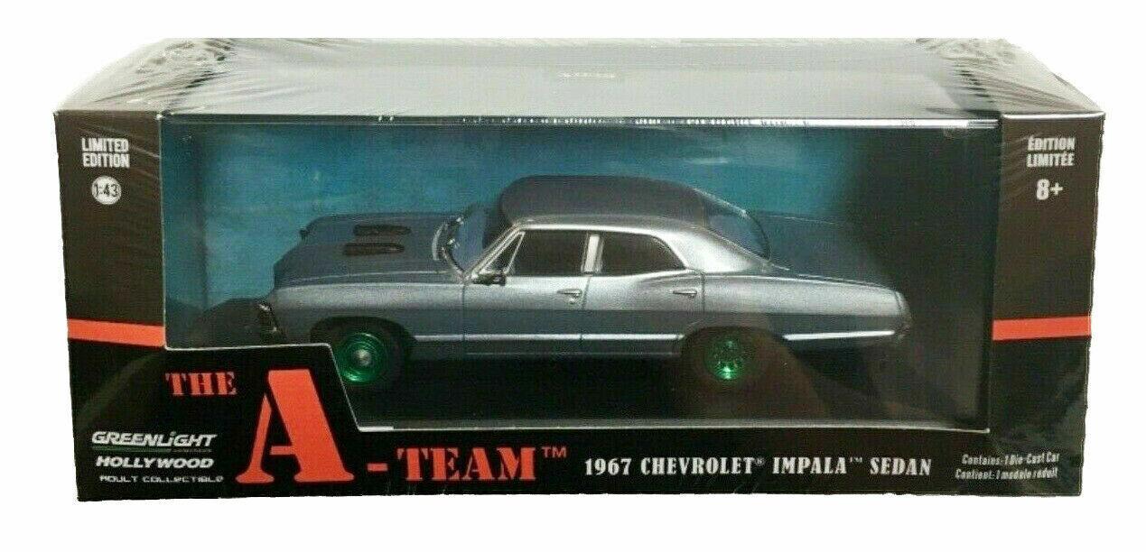 Máquina verde verdeLight Raro Chase 86527 el A-Team 1967 Chevrolet Impala Sedan