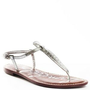3bdb83fceb33 Sam Edelman Gigi Silver Boa Patent Leather Ankle Strap Sandal womens ...