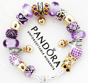 Image Is Loading Authentic Pandora Silver Bracelet Mom Wife Purple Gold