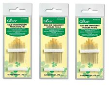 Embroidery Needles Gold Eye Size 3/9 16ct Clover #235 Sewing Quilt Notion
