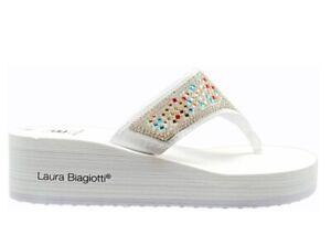 Sandali scarpe donna zeppa Laura Biagiotti infradito mare doccia piscina bianchi