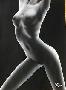 Dibujo de una niña desnuda # 120. Aerografía.