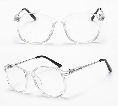 Large Oval Round Clear Lens Fashion Glasses Slim Frame Mens Women/'s