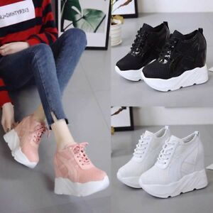 72f344493a16 Image is loading Womens-Platform-Sneakers-Casual-Hidden-Heel-Breathable- Sport-