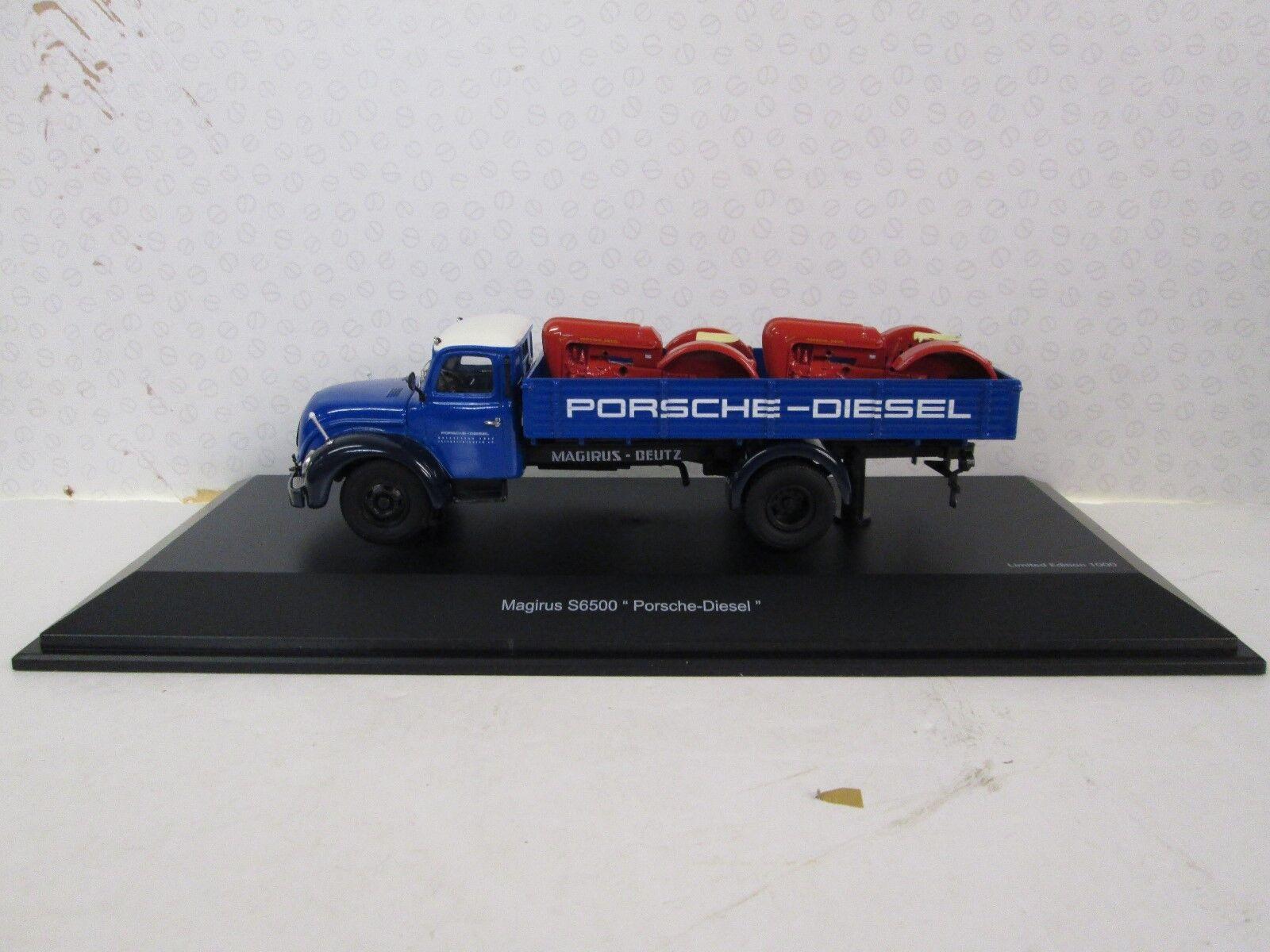 SCHUCO. Magirus S 6500. With 2 x Porsche Tractor Load. 1 43. 45 031 6700