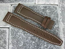 21mm TOP GUN Brown Genuine Calf LEATHER STRAP Watch Band White Stitch IWC PILOT
