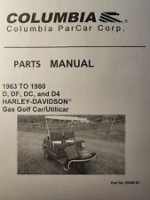 New Listingharley Davidson Columbia D Df Dc D4 Gasoline Golf Cart Parts Catalog Manual