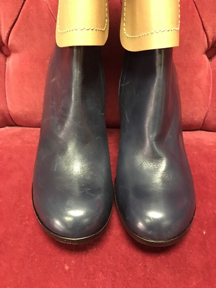 Jilsander Navy Blue And Beige Leather Cuffed Foldover Boots 41 New 1250