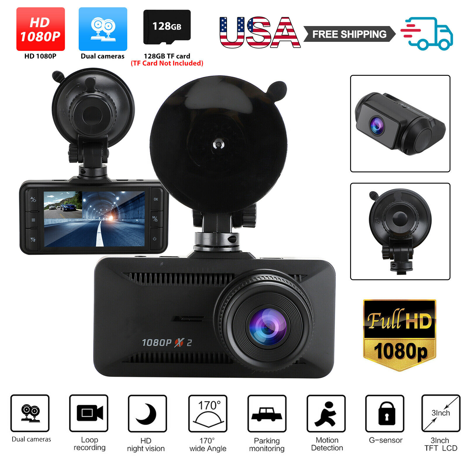 Dual 1080P Car Dash Cam Front and Rear Camera Driving Recorder 170° Night Vision 1080p and cam camera car dash driving dual Featured front rear