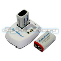 Two Maximalpower 9 Volt Rechargable Batteries 9v Battery X 2 + Dual Wall Charger