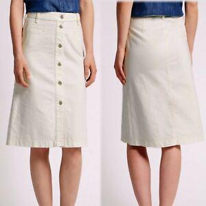 CREAM M/&S Button Front A-LINE DENIM SKIRT ~ Size 10 ~ ECRU