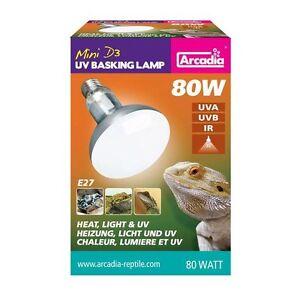Arcadia-D3-UV-Basking-E-27-Lampe-80-Watt-Terrarienlampe-Reptilienlampe-Spot