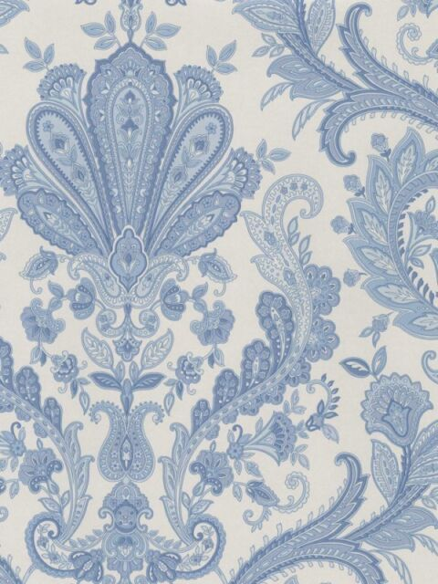 Paisley Wallpaper In Blue White Double Roll Md29431 Free Shipping