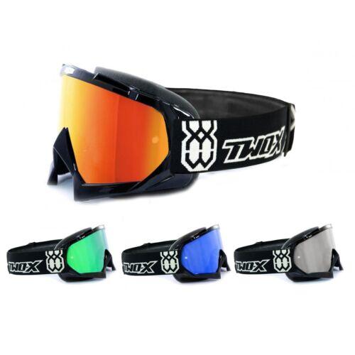 Two-X Race Crossbrille Enduro Occhiali Motocross Goggle A Specchio Nero Solid