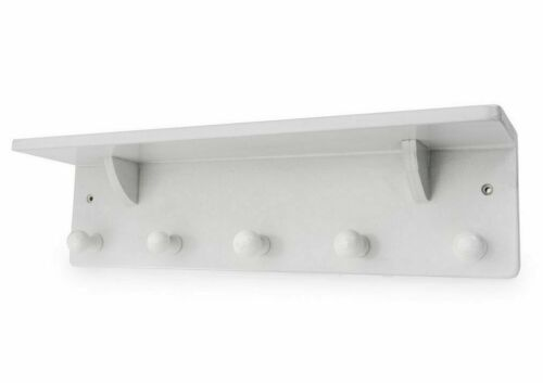 BLUE CANYON WHITE WOODEN WALL SHELF WITH 5 PEGS CLOTHES HANGER HOOKS