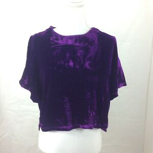 Line-amp-Dot-Women-s-Cropped-Blouse-Top-Sz-Large-Short-Sleeve-Velvet-Silk-Purple