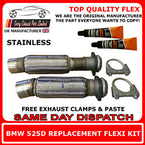 BMW 525 2.5D E39 1999-2003 Clamp On Exhaust Replacement Flex Flexi for Cat Pipe