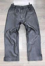 "Black Leather Riding Biker Motorcycle Bridge Trousers Pants Size W31"" L25"""