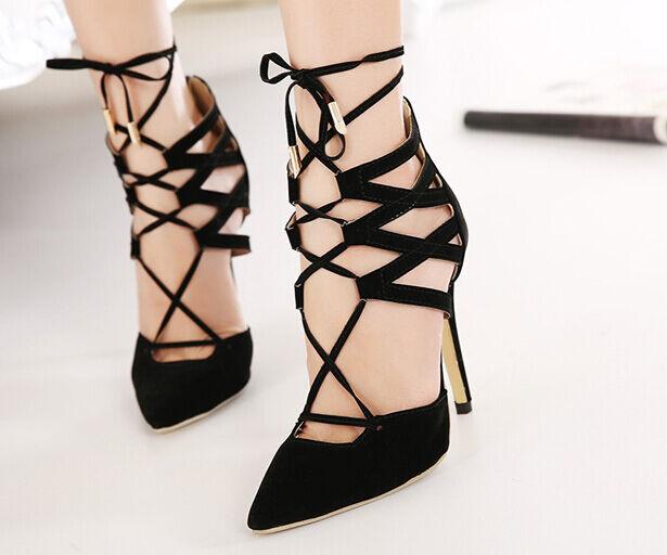 Décollte Zapatos zapatos de salón sandalias perno 11 cm cm cm tacón de aguja negro  grandes ahorros