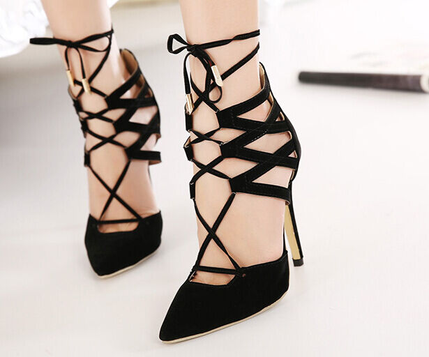 Décollte Schuhe decolte Sandaleei spillo 11 cm stiletto nero lacci elegante t 9196