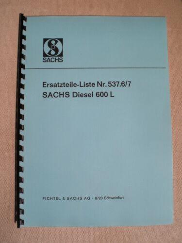 Motor von Holder A12 B12 E12 Sachs Diesel 600 Ersatzteilliste