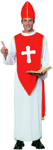 Mens Bishop Cardinal Pope Priest Xmas Religious Fancy Dress Costume Outfit New