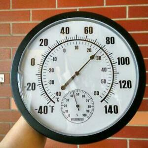 """Outdoor 10"""" Patio Large Wall Thermometer and Hygrometer Mechanical watch core"""