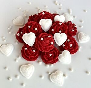Image Is Loading Love Hearts Amp Roses Wedding Anniversary Bouquet Edible