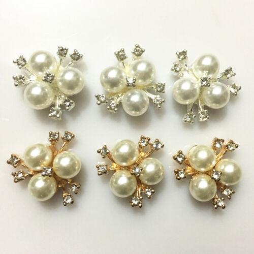 10pcs Flower Alloy Buttons Decorative Accessories DIY Wedding Bridal Bow Crafts