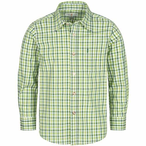 Trachtenhemd für Kinder zweifarbig in Hellgrün und Dunkelgrün von Almsach