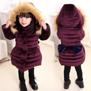 Kids-Girls-Winter-Long-Padded-Coats-Fur-Hooded-Jacket-Puffer-Warm-Parka-Cute-Bow