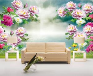 Papel Pintado Mural De Vellón Cielo Peonía Floreciente 2 Paisaje Fondo Pansize